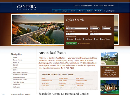 02-cantera in 30 Beautiful Real Estate Websites