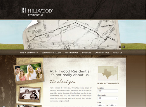06-hillwood in 30 Beautiful Real Estate Websites