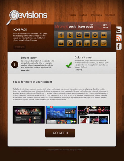 6r wooden portfolio 40 (Really) Beautiful Web Page Templates in Photoshop PSD