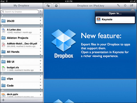Dropbox by Dropbox 01 40 Useful iPad Apps for Web Designers
