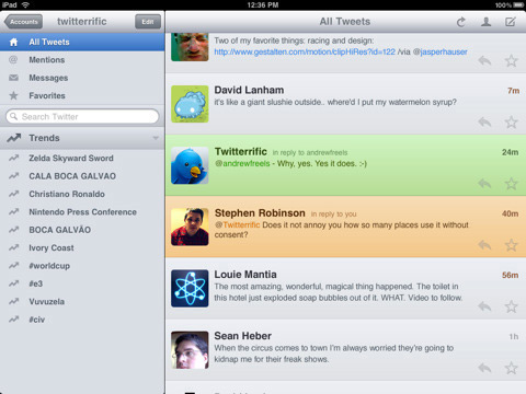 Twitterrific for Twitter by The Iconfactory 01 40 Useful iPad Apps for Web Designers