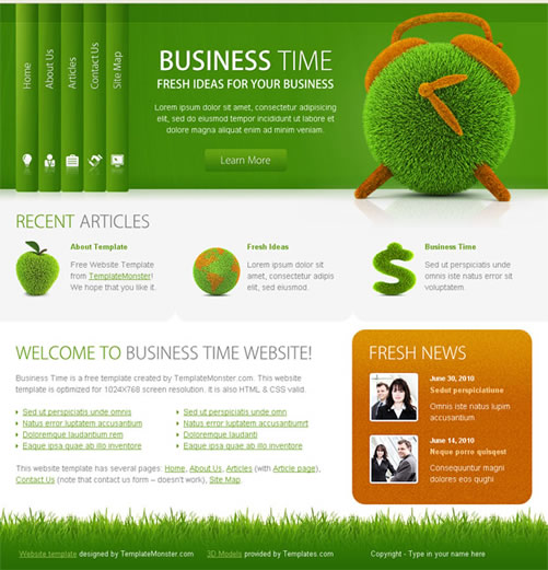 businesstime 40 (Really) Beautiful Web Page Templates in Photoshop PSD