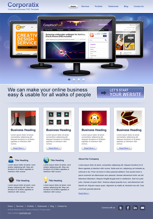 corporatix 40 (Really) Beautiful Web Page Templates in Photoshop PSD