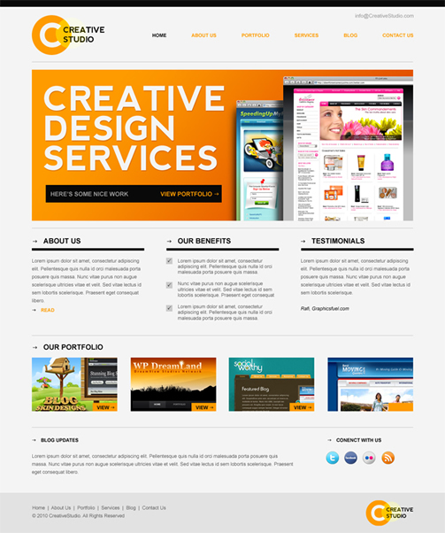creative studio 40 (Really) Beautiful Web Page Templates in Photoshop PSD