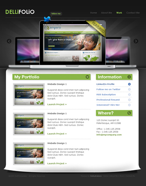 dellifolio 40 (Really) Beautiful Web Page Templates in Photoshop PSD