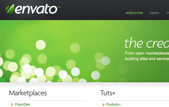 Envato in 35 Examples Of Masterful Lighting Effects In Web Design