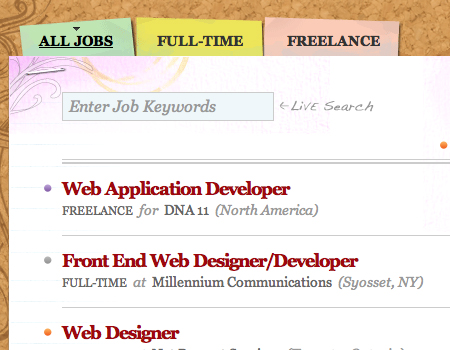 Jobsonthewall in Showcase Of Well-Designed Tabbed Navigation