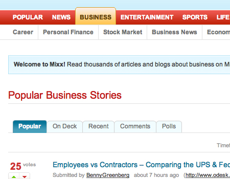 Mixx in Showcase Of Well-Designed Tabbed Navigation