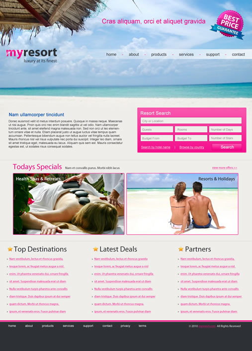 myresort 40 (Really) Beautiful Web Page Templates in Photoshop PSD