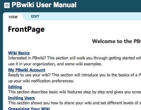 Pbwiki in Showcase Of Well-Designed Tabbed Navigation