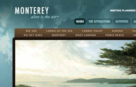 Seemonterey in 35 Examples Of Masterful Lighting Effects In Web Design