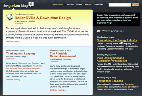 Geniant in 45 Excellent Blog Designs