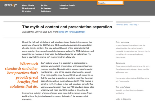 Jeffcroft in 45 Excellent Blog Designs