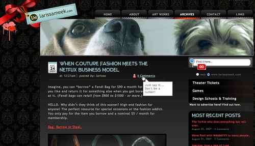 Larissameek in 45 Excellent Blog Designs