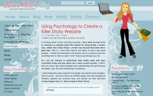 Laura in 45 Excellent Blog Designs