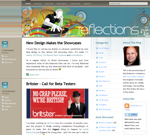 Reflections in 45 Excellent Blog Designs