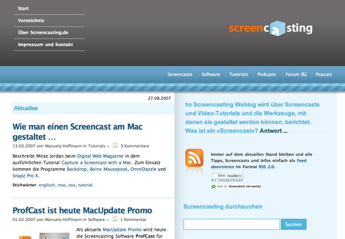 Screencasting in 45 Excellent Blog Designs