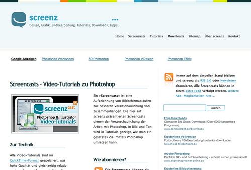 Screenz in 45 Excellent Blog Designs