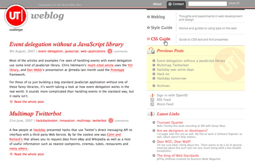 Usabletype in 45 Excellent Blog Designs