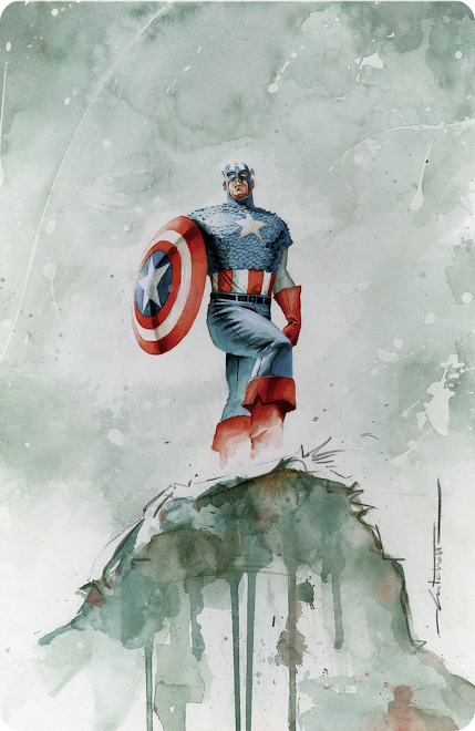 Beautiful Watercolor Illustration of Super Heroes and Villains